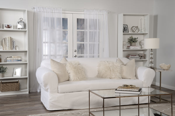 All Cotton Slipcover Brushed  Twill Thick Fabric one-piece SOFA//COUCH Round Arm