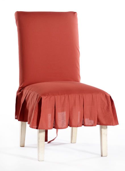 Cotton duck PLEATED short skirt dining chair slipcover
