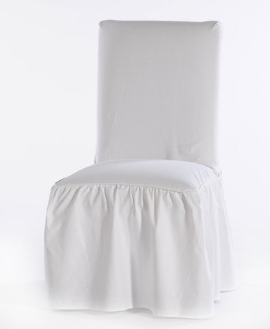 Washed cotton duck Ruffled dining chair slipcover