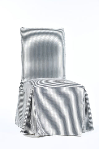 Twill ticking stripe dining chair long slipcover