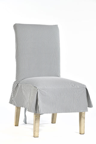 Twill ticking stripe dining chair short slipcover