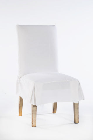 Cotton duck short skirt dining chair slipcover