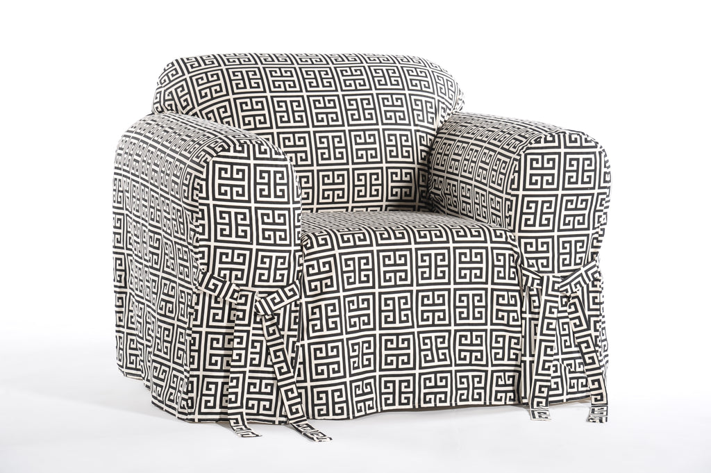 Roman Key One Piece Chair Slipcover