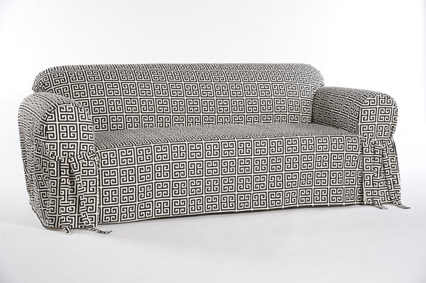 Roman Key One Piece Loveseat Slipcover