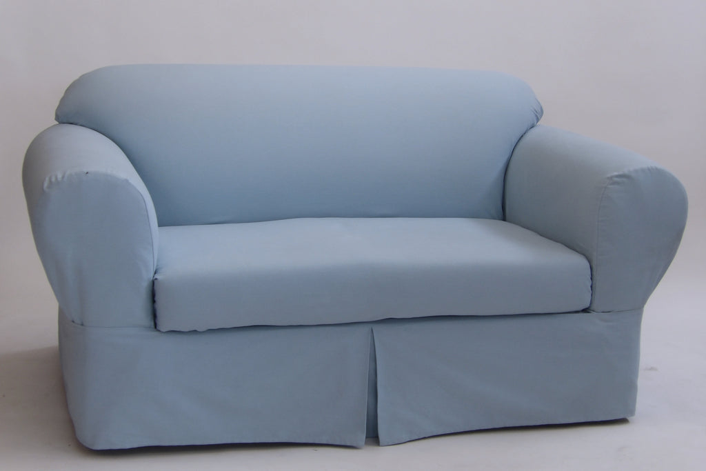 Twill Two Piece Loveseat Slipcover