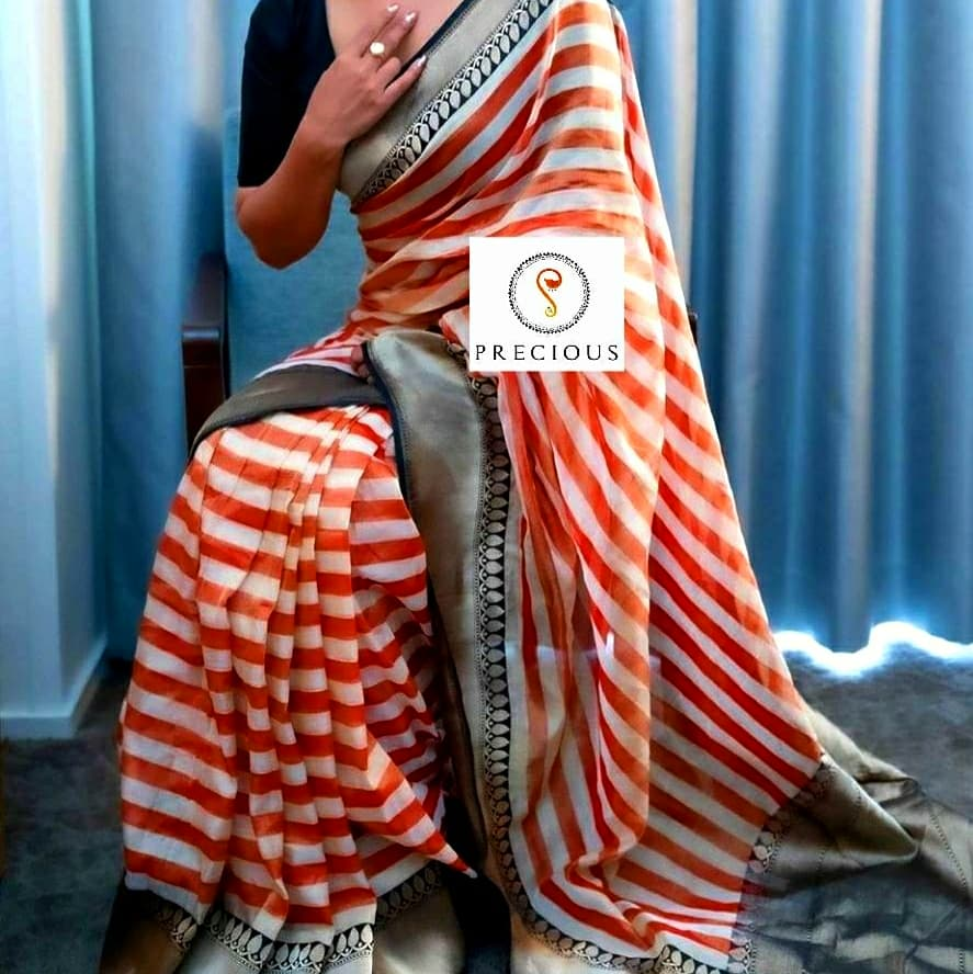 Printed georgette  with  zari