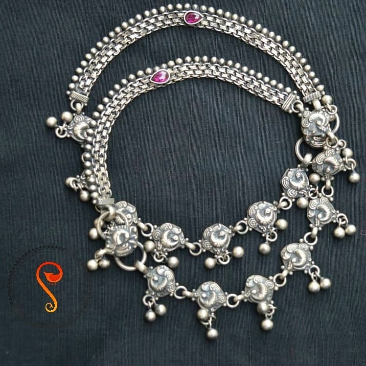 Pure silver anklet