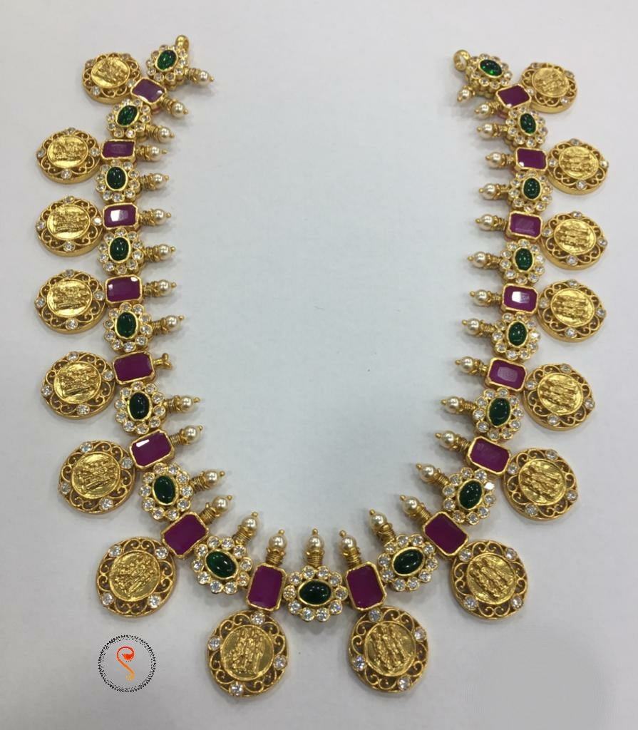 Ram lakshman  sita necklace with ruby emeralds and pearls
