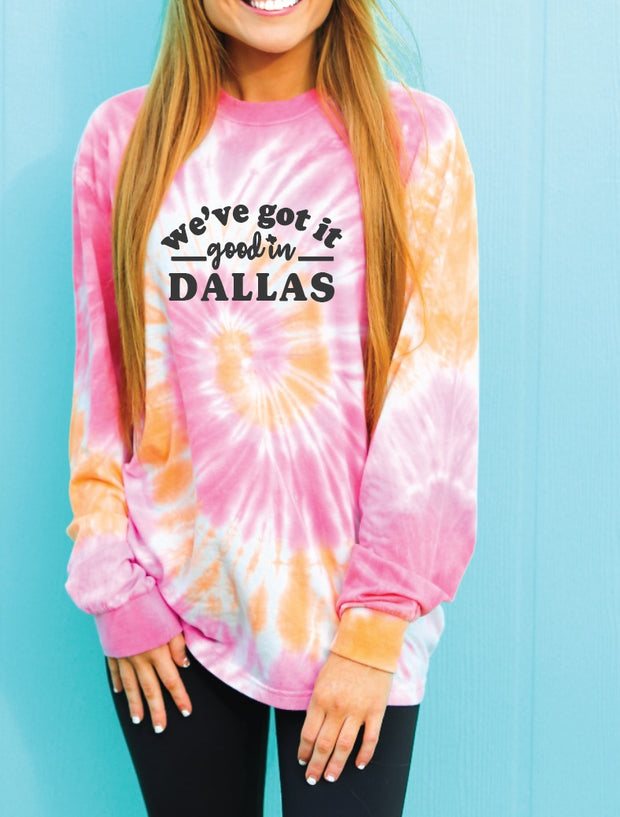 Custom: Tie Dye -We've Got It Good (Coral Swirl) - Long Sleeve / Crew
