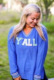 Y'all - Patches (Flo Blue) - Corded Sweatshirt / V-Neck