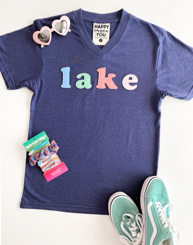 Lake Patches (Navy Heather) - Short Sleeve / V-Neck