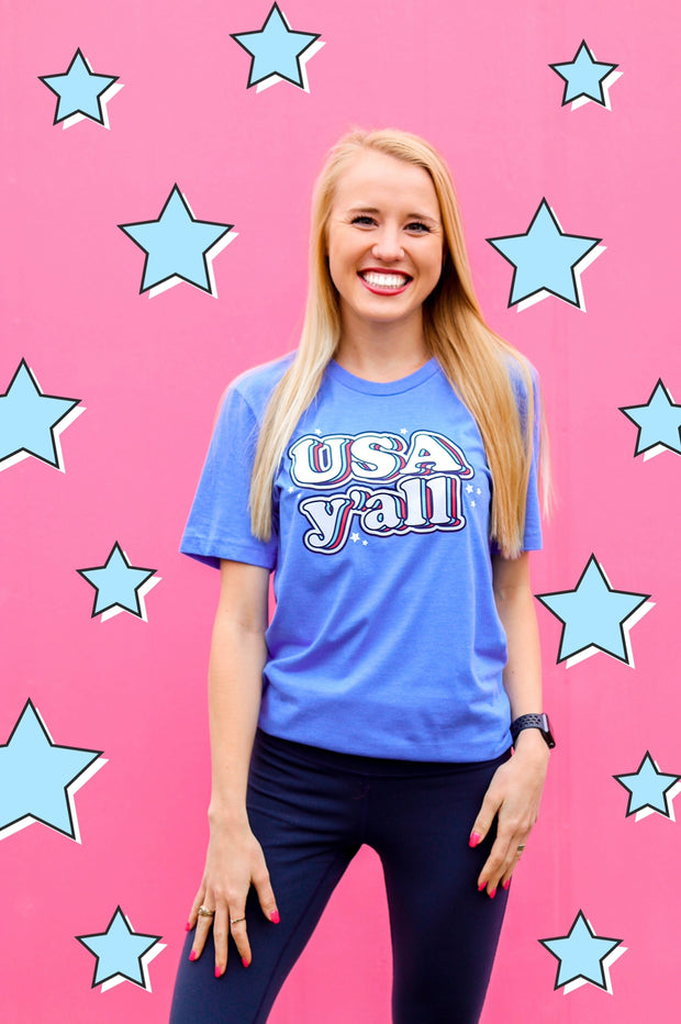 TSL - USA Y'all (Columbia Blue Heather) - Short Sleeve / Crew