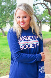 Anxiety Society (Navy) - Long Sleeve / Crew
