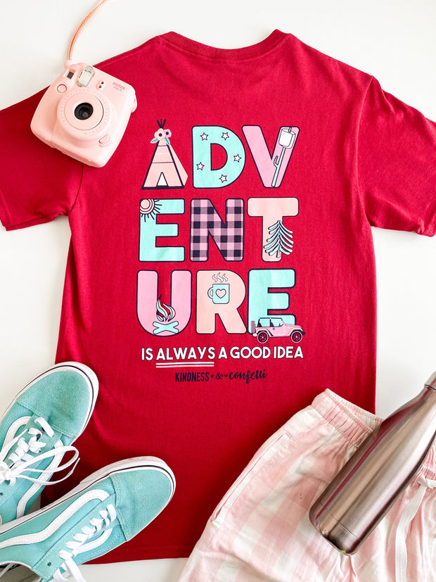 K&C - Adventure Is Always A Good Idea (Cardinal) - Short Sleeve/Crew