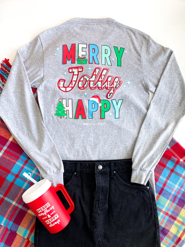 K&C - Merry Jolly Happy (Charcoal Heather) - Long Sleeve / Crew