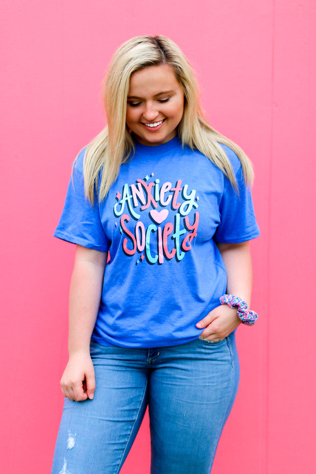 Anxiety Society (Flo Blue Heather) - Short Sleeve / Crew