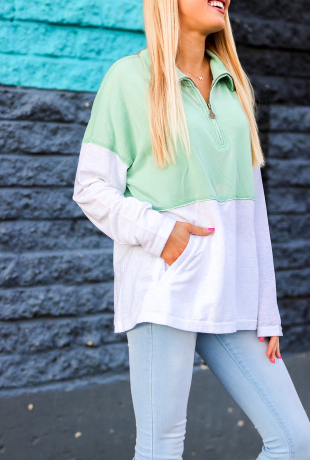 Burnout Quarter Zip (Pistachio/White) - Long Sleeve