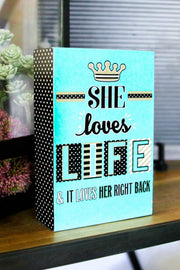 Happy Quote Box - She Loves Life (Mint)