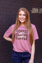 TSL - All I Need Is Coffee Coffee Coffee (Mauve Heather) - Short Sleeve/Crew