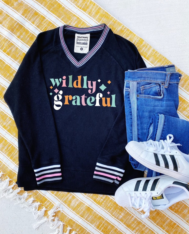 Wildly Grateful (Black) - Corded Sweatshirt / V-Neck
