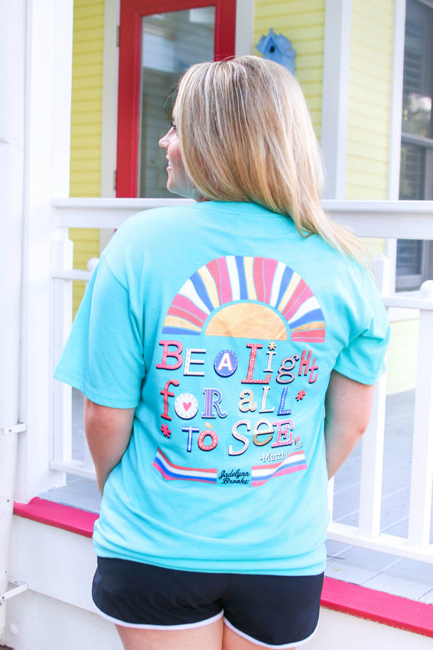 Be A Light - Matthew 5:16 (Heather Seafoam) - Short Sleeve / V-Neck
