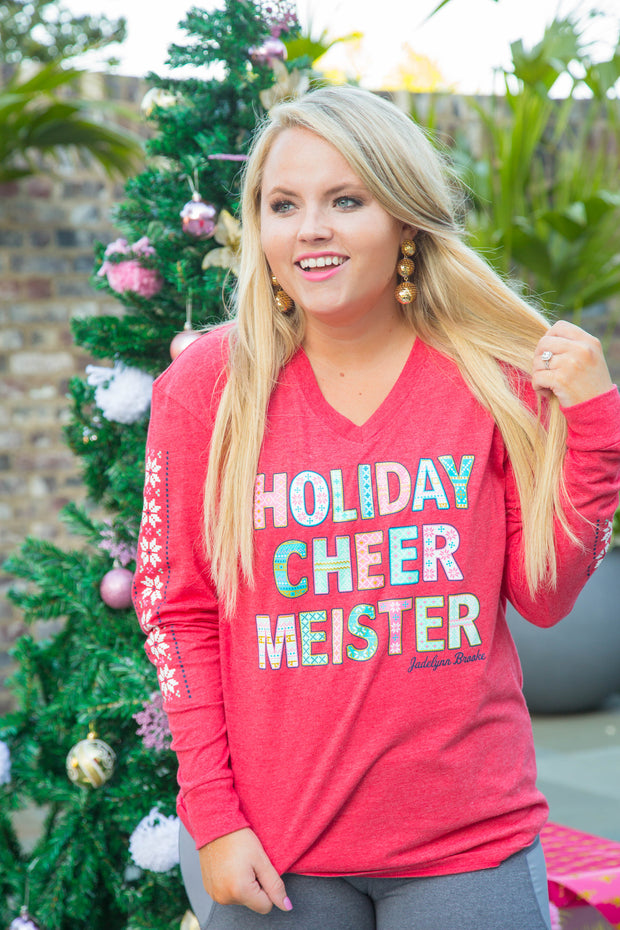 Holiday Cheer Meister - Christmas (Red) - Long Sleeve- V-Neck