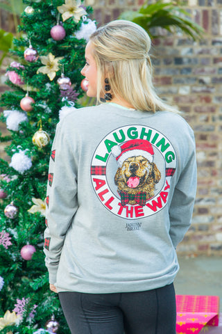 Laughing All The Way - Christmas (Dark Heather Grey) - Long Sleeve- V-Neck
