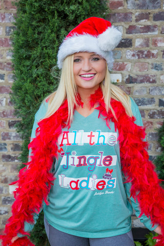 All The Jingle Ladies - Christmas (Sea Foam) - Long Sleeve- V-Neck