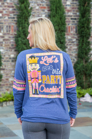Let's Get This Party Crackin' - Christmas (Navy) - Long Sleeve- V-Neck