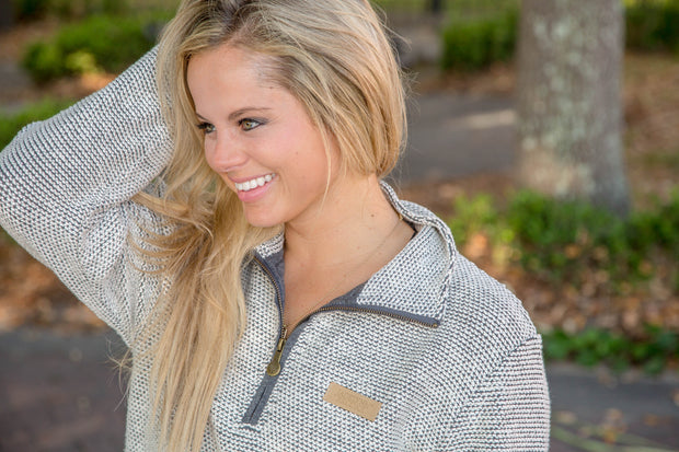 JLB Boyfriend Pullover (Cream/Grey - Original) - Long Sleeve 1/4 Zip