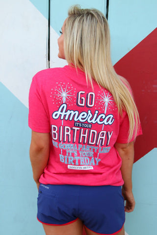 Go America It's Your Birthday (Heather Bright Red) - Short Sleeve / Pocket Tee
