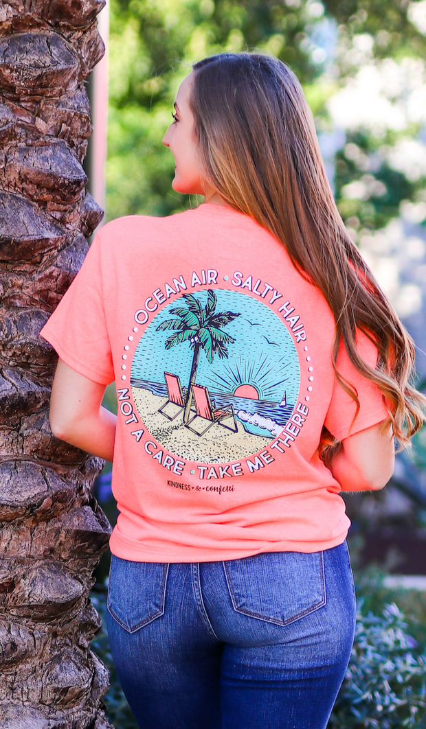 K&C - Ocean Air Salty Hair (Coral Heather) - Short Sleeve/Crew