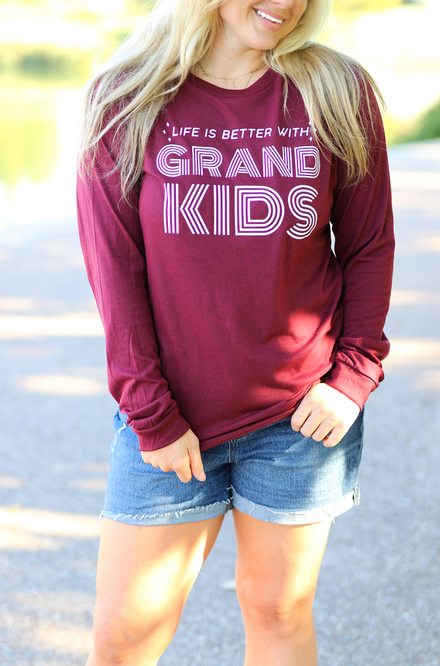 TSL - Life Is Better With Grandkids (Cardinal Heather) - Long Sleeve / Crew