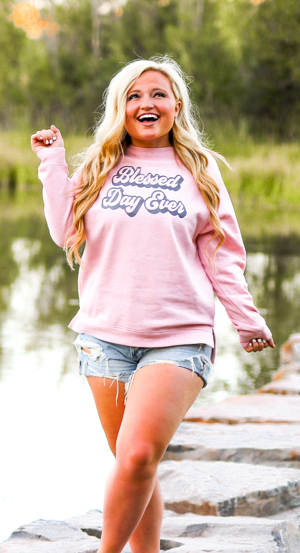 Blessed Day Ever (Light Pink Funfetti)   - Long Sleeve / Sweatshirt Crew