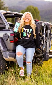 Pray Big Worry Small (black heather)   - Long Sleeve / Sweatshirt Crew