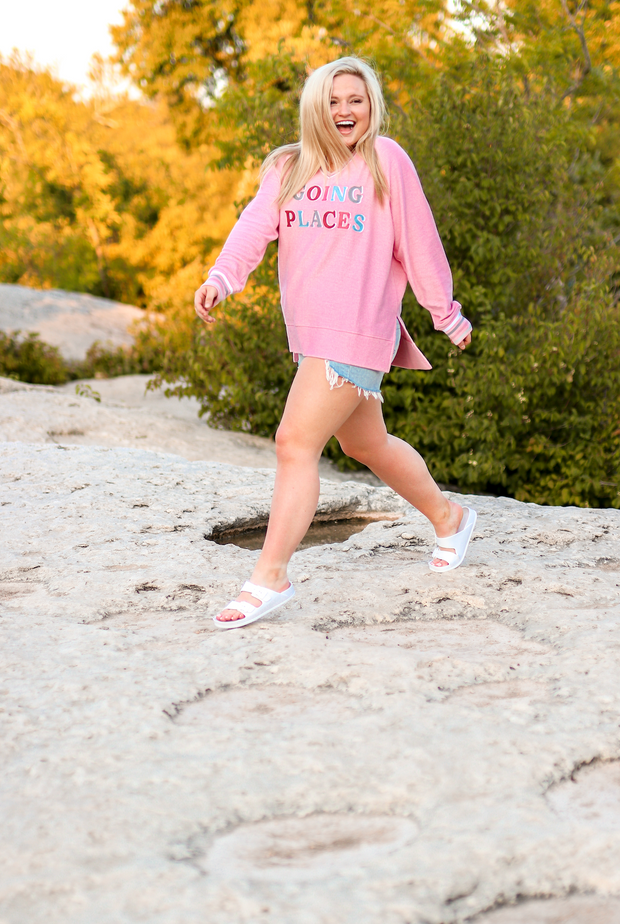 Going Places (Millennial Pink) - Corded Sweatshirt / V-Neck