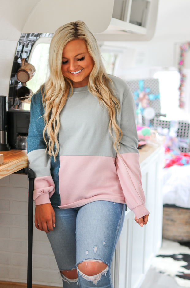 Denim Bell Sleeve Pullover (Denim) - Long Sleeve / Crew Neck