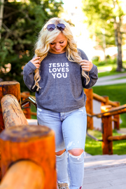Jesus Loves You Corded Fleece (Charcoal) - Long Sleeve / Crew Neck