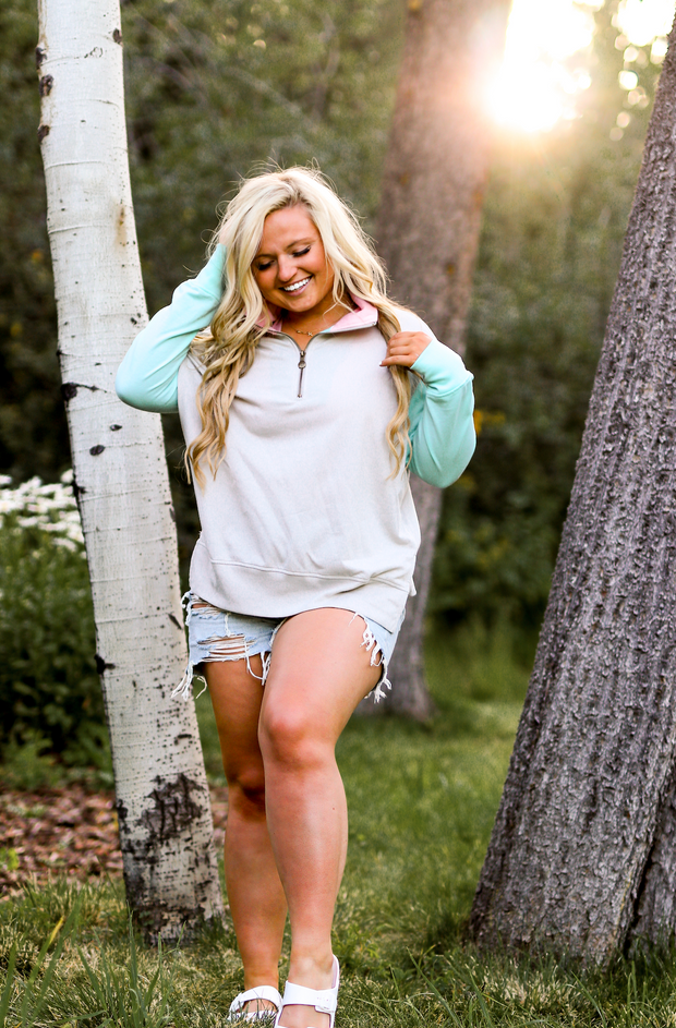 Moxie Pullover (Mint/Pink) - Long Sleeve 1/4 Zip