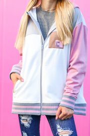 JLB Full Zip Jacket (White/Pink) - Love Is Kind