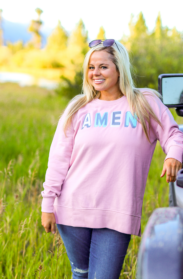 TSL - Amen (Mauve) - Long Sleeve / Sweatshirt Crew