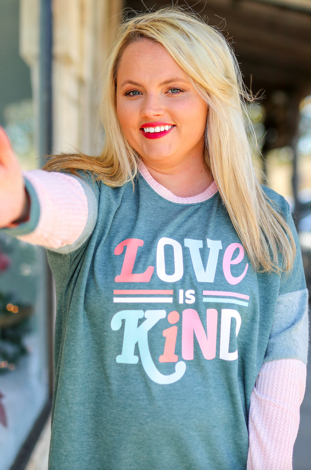 Love Is Kind (Olive/Pink) - Waffle Long Sleeve / Crew Neck