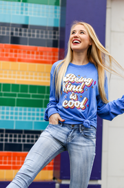 K&C - Being Kind Is Cool (Royal Heather) - Long Sleeve / Crew