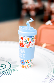 Travel Coffee Mug -  Mom Mode (Periwinkle Floral)