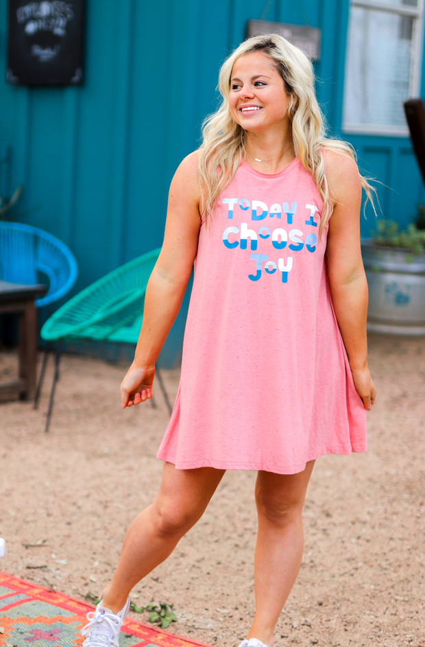 Today I Choose Joy (Coral Funfetti) - Tank Dress