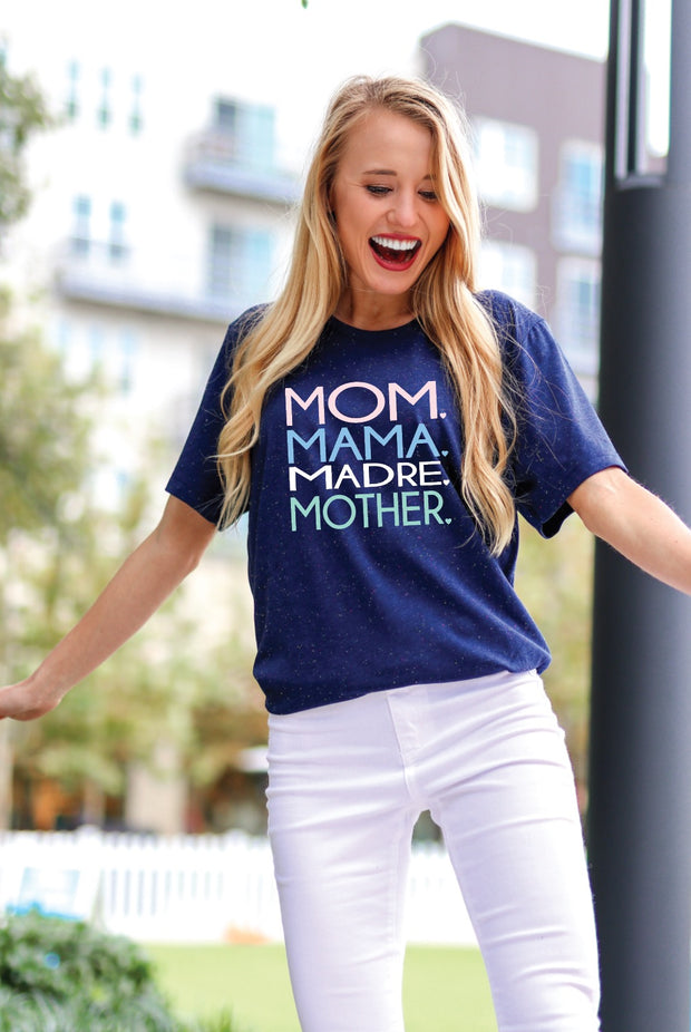 TSL - Mom Mama Madre (Navy Speckled) - Short Sleeve / Crew