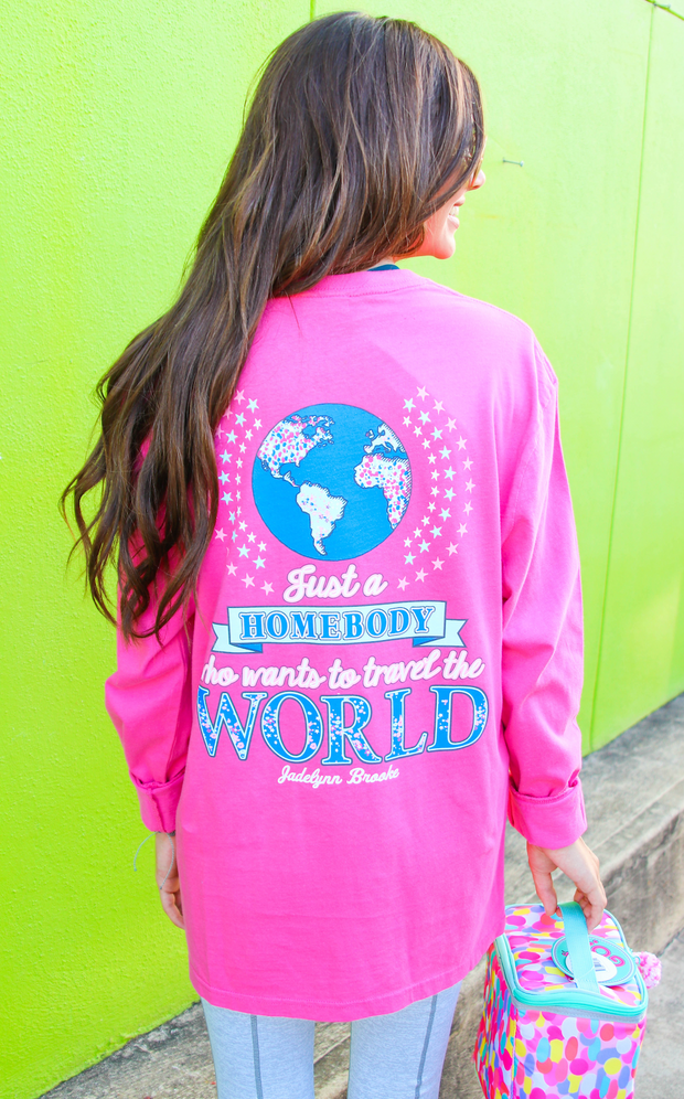 Just a Homebody (Happy Pink) - Long Sleeve / Crew