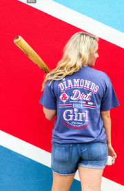 Diamonds & Dirt Kinda Girl (Heather Navy) - Short Sleeve / V-Neck