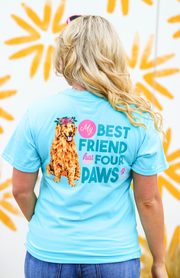 Four Paws (Heather Lagoon Blue) - Short Sleeve / Pocket