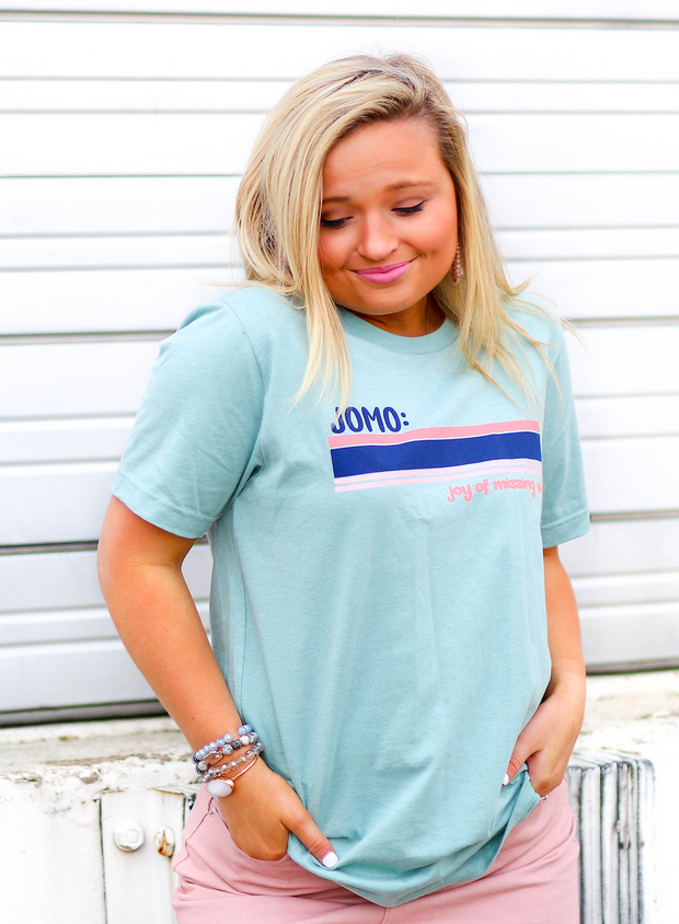TSL - JOMO (Joy of Missing Out) - Dusty Blue Heather - Short Sleeve - Crew